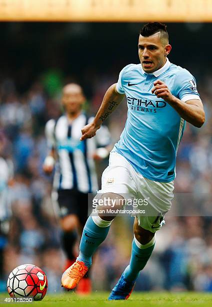 Sergio Aguero of Manchester City in action during the Barclays Premier League match between Manchester City and Newcastle United at Etihad Stadium on...
