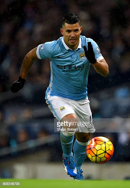 Sergio Aguero of Manchester City in action during the Barclays Premier League match between Manchester City and Crystal Palace at Etihad Stadium on...