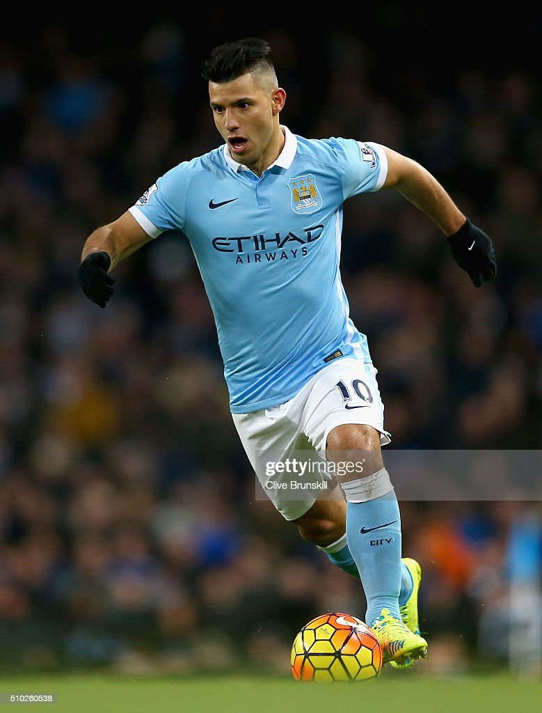 <a gi-track='captionPersonalityLinkClicked' href=/galleries/search?phrase=Sergio+Aguero&family=editorial&specificpeople=1100704 ng-click='$event.stopPropagation()'>Sergio Aguero</a> of Manchester City in action during the Barclays Premier League match between Manchester City and Tottenham Hotspur at Etihad Stadium on February 14, 2016 in Manchester, England.