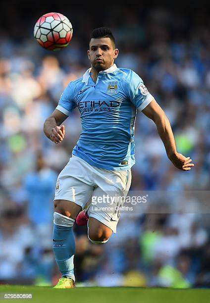 Sergio Aguero of Manchester City in action during the Barclays Premier League match between Manchester City and Arsenal at the Etihad Stadium on May...