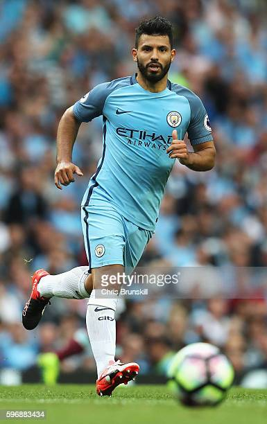 Sergio Aguero of Manchester City in action during the Premier League match between Manchester City and West Ham United at Etihad Stadium on August 28...