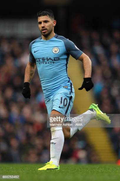 Sergio Aguero of Manchester City in action during the Premier League match between Manchester City and Liverpool at Etihad Stadium on March 19 2017...