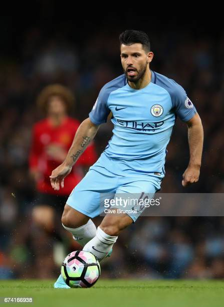 Sergio Aguero of Manchester City in action during the Premier League match between Manchester City and Manchester United at Etihad Stadium on April...