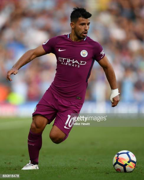 Sergio Aguero of Manchester City in action during the Premier League match between Brighton and Hove Albion and Manchester City at Amex Stadium on...
