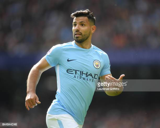 Sergio Aguero of Manchester City in action during the Premier League match between Manchester City and Liverpool at Etihad Stadium on September 9...