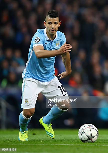Sergio Aguero of Manchester City in action during the UEFA Champions League Quarter Final second leg match between Manchester City FC and Paris...