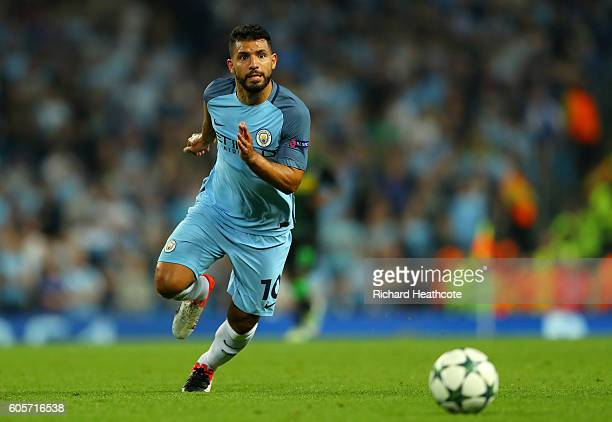 Sergio Aguero of Manchester City in action during the UEFA Champions League match between Manchester City FC and VfL Borussia Moenchengladbach at...
