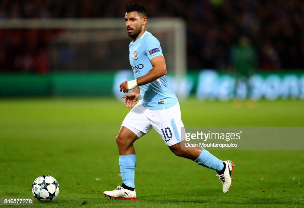 Sergio Aguero of Manchester City in action during the UEFA Champions League group F match between Feyenoord and Manchester City at Feijenoord Stadion...