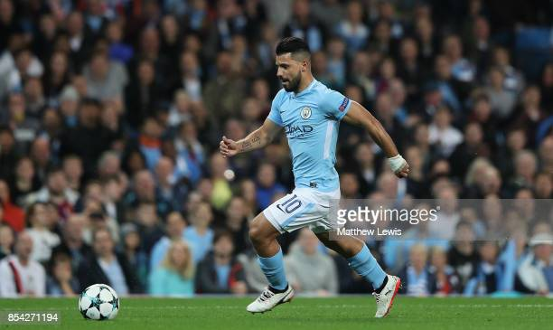 Sergio Aguero of Manchester City in action during the UEFA Champions League group F match between Manchester City and Shakhtar Donetsk at Etihad...