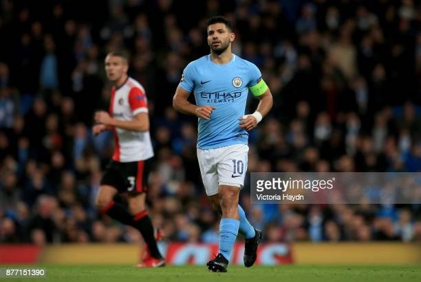 Sergio Aguero of Manchester City in action during the UEFA Champions League group F match between Manchester City and Feyenoord at Etihad Stadium on...