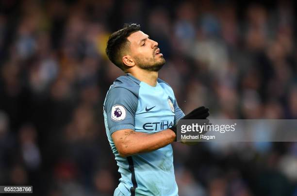 Sergio Aguero of Manchester City is dejected during the Premier League match between Manchester City and Liverpool at Etihad Stadium on March 19 2017...