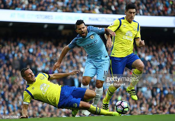 Sergio Aguero of Manchester City is fouled in the box by Phil Jagielka of Everton during the Premier League match between Manchester City and Everton...