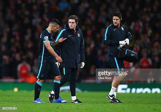 Sergio Aguero of Manchester City leaves the field during the Barclays Premier League match between Arsenal and Manchester City at Emirates Stadium on...