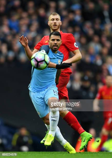 Sergio Aguero of Manchester City looks on at the ball during the Premier League match between Manchester City and Liverpool at Etihad Stadium on...