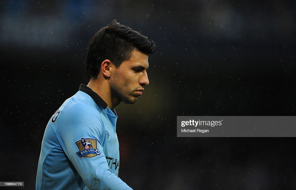 Sergio Aguero of Manchester City looks on during the Barclays Premier League match between Manchester City and Stoke City at the Etihad Stadium on January 1, 2013 in Manchester, England.