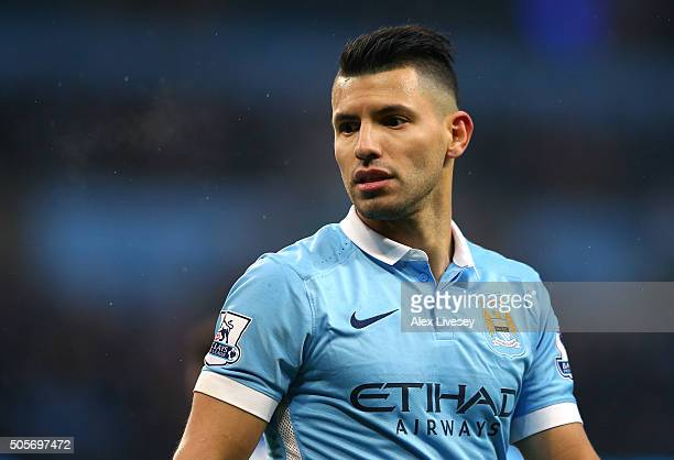 Sergio Aguero of Manchester City looks on during the Barclays Premier League match between Manchester City and Crystal Palace at the Etihad Stadium...