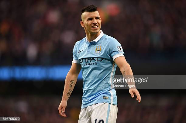 Sergio Aguero of Manchester City looks on during the Barclays Premier League match between Manchester City and Manchester United at Etihad Stadium on...