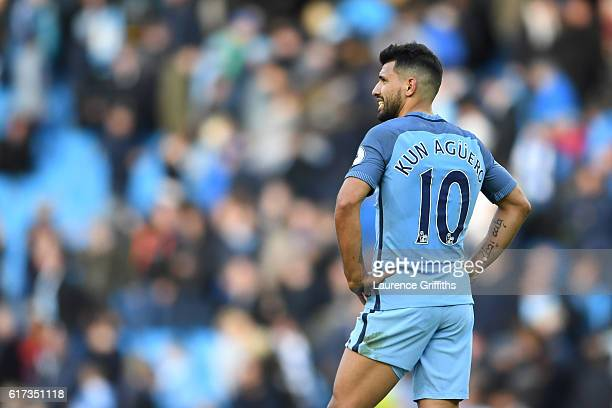 Sergio Aguero of Manchester City looks on during the Premier League match between Manchester City and Southampton at Etihad Stadium on October 23...