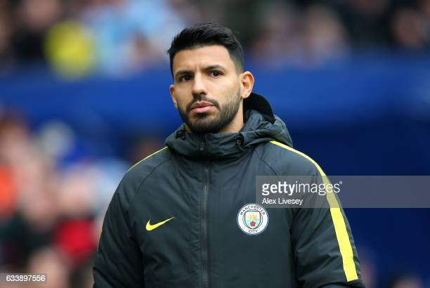 Sergio Aguero of Manchester City looks on during the Premier League match between Manchester City and Swansea City at Etihad Stadium on February 5...