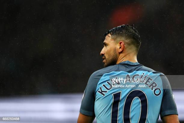 Sergio Aguero of Manchester City looks on during the Premier League match between Manchester City and Liverpool at Etihad Stadium on March 19 2017 in...