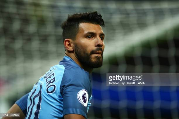 Sergio Aguero of Manchester City looks on during the Premier League match between Manchester City and Manchester United at Etihad Stadium on April 27...