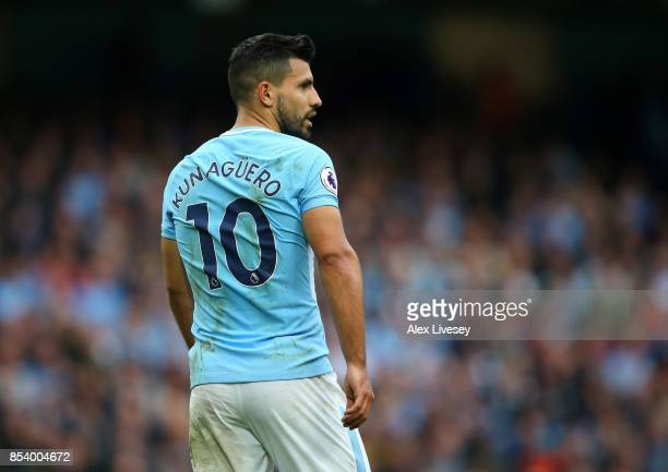 Sergio Aguero of Manchester City looks on during the Premier League match between Manchester City and Crystal Palace at Etihad Stadium on September...