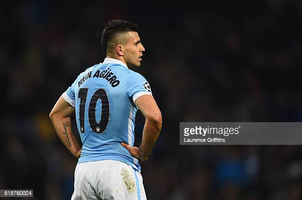 Sergio Aguero of Manchester City looks on during the UEFA Champions League round of 16 second leg match between Manchester City FC and FC Dynamo Kyiv...