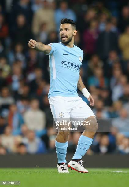 Sergio Aguero of Manchester City looks on during the UEFA Champions League Group F match between Manchester City and Shakhtar Donetsk at Etihad...