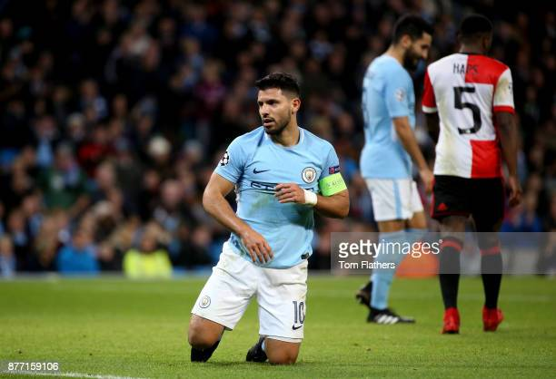 Sergio Aguero of Manchester City looks on during the UEFA Champions League group F match between Manchester City and Feyenoord at Etihad Stadium on...