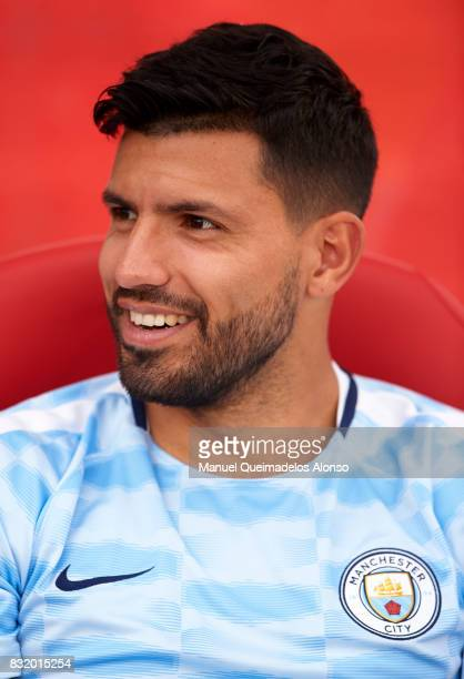 Sergio Aguero of Manchester City looks on prior to the preseason friendly match between Girona and Manchester City at Municipal de Montilivi Stadium...