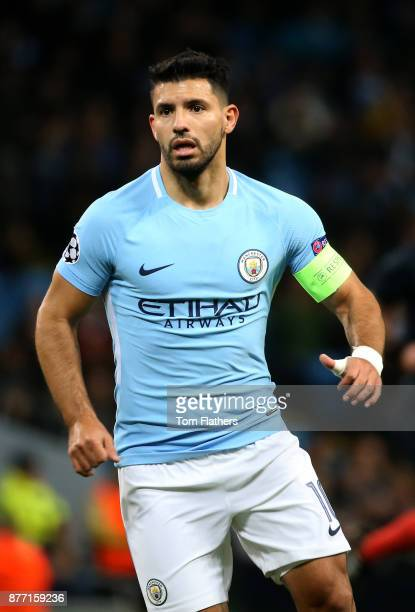 Sergio Aguero of Manchester City of Manchester City in action during the UEFA Champions League group F match between Manchester City and Feyenoord at...
