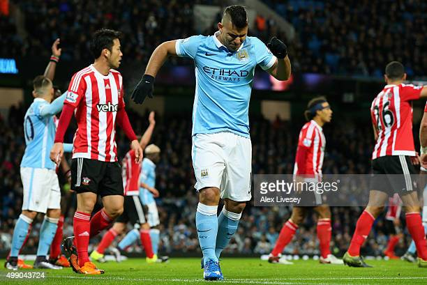 Sergio Aguero of Manchester City picks up an injury during the Barclays Premier League match between Manchester City and Southampton at the Etihad...