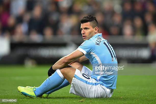Sergio Aguero of Manchester City reacts after a missed chance on goal during the Barclays Premier League match between Newcastle United and...