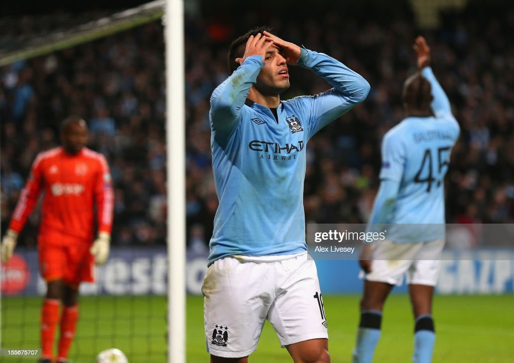 <a gi-track='captionPersonalityLinkClicked' href=/galleries/search?phrase=Sergio+Aguero&family=editorial&specificpeople=1100704 ng-click='$event.stopPropagation()'>Sergio Aguero</a> of Manchester City reacts after having a goal disallowed during the UEFA Champions League Group D match between Manchester City FC and Ajax Amsterdam at the Etihad Stadium on November 6, 2012 in Manchester, England.