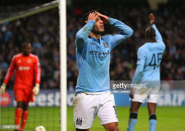 Sergio Aguero of Manchester City reacts after having a goal disallowed during the UEFA Champions League Group D match between Manchester City FC and...