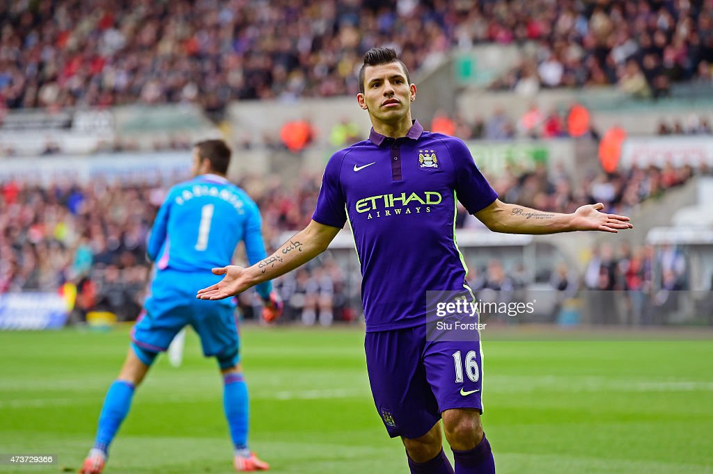 Sergio Aguero of Manchester City reacts after his goal is dissallowed for offside during the Barclays Premier League match between Swansea and...