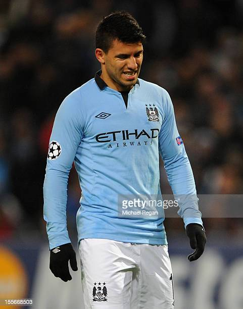 Sergio Aguero of Manchester City reacts after his team conceded the opening goal during the UEFA Champions League Group D match between Manchester...