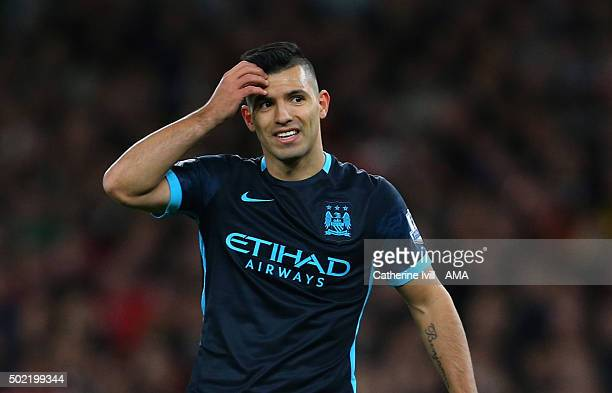 Sergio Aguero of Manchester City reacts after missing a chance during the Barclays Premier League match between Arsenal and Manchester City at the...