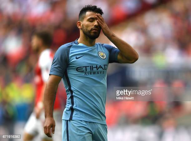 Sergio Aguero of Manchester City reacts after missing a chance during the Emirates FA Cup SemiFinal match between Arsenal and Manchester City at...