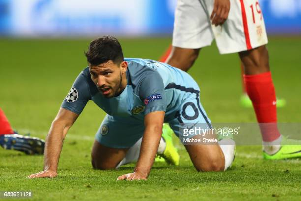 Sergio Aguero of Manchester City reacts after missing a goal scoring chance during the UEFA Champions League Round of 16 second leg match between AS...