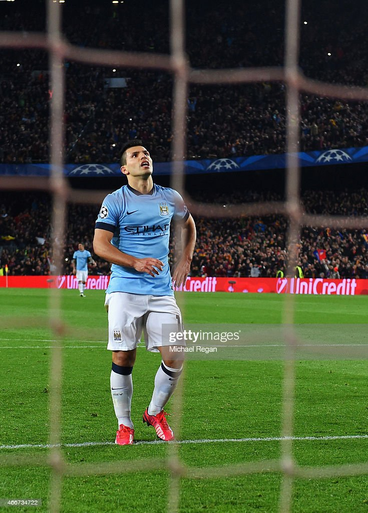 Sergio Aguero of Manchester City reacts after seeing his penalty saved by Marc-Andre ter Stegen of Barcelona during the UEFA Champions League Round of 16 second leg match between Barcelona and Manchester City at Camp Nou on March 18, 2015 in Barcelona, Spain.