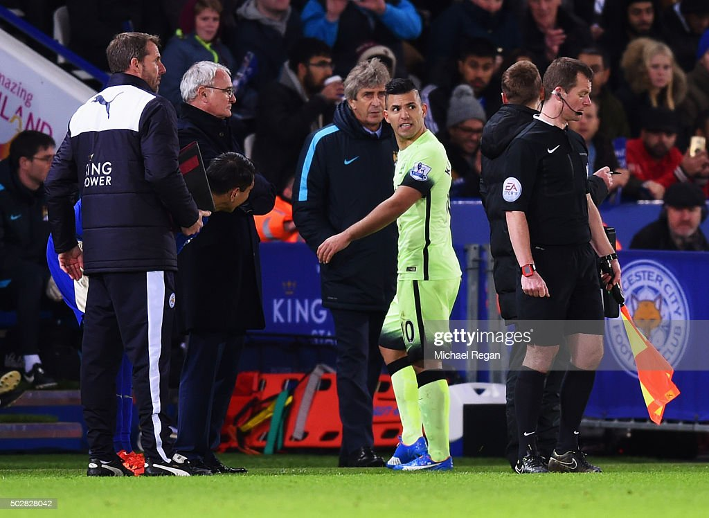 Sergio Aguero of Manchester City (10) reacts as he is substituted as Manuel Pellegrini manager of Manchester City (C) looks on during the Barclays Premier League match between Leicester City and Manchester City at The King Power Stadium on December 29, 2015 in Leicester, England.