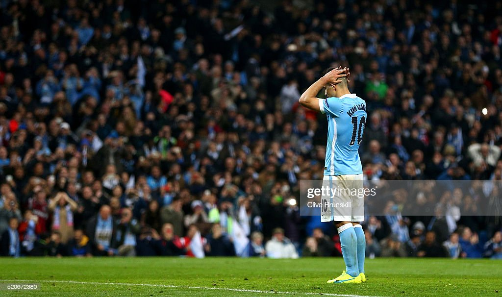 Sergio Aguero of Manchester City reacts as he misses a penalty kick during the UEFA Champions League quarter final second leg match between Manchester City FC and Paris Saint-Germain at the Etihad Stadium on April 12, 2016 in Manchester, United Kingdom.