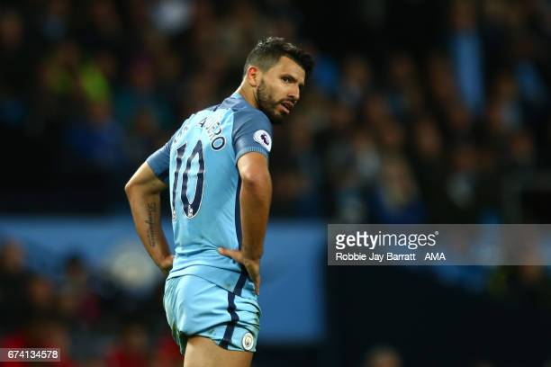 Sergio Aguero of Manchester City reacts at the end of the Premier League match between Manchester City and Manchester United at Etihad Stadium on...