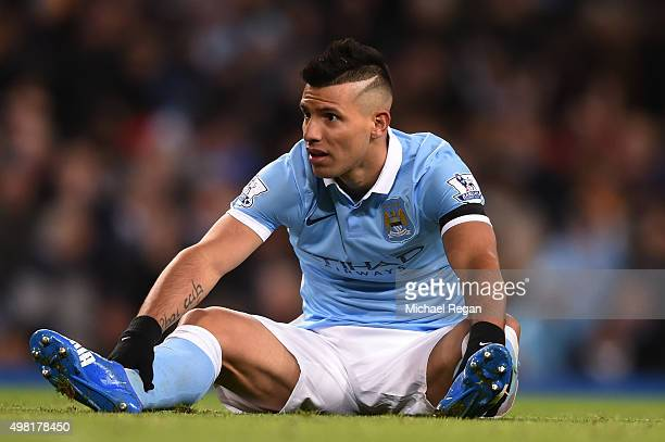 Sergio Aguero of Manchester City reacts during the Barclays Premier League match between Manchester City and Liverpool at Etihad Stadium on November...