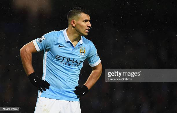 Sergio Aguero of Manchester City reacts during the Barclays Premier League match between Manchester City and Everton at the Etihad Stadium on January...