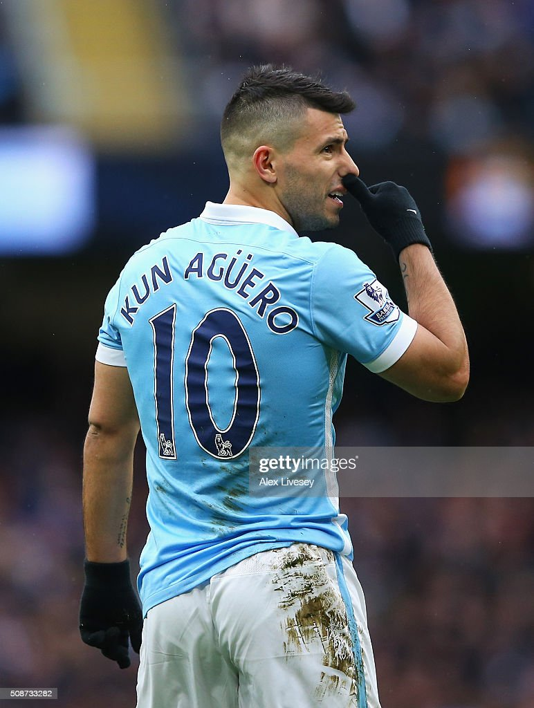 <a gi-track='captionPersonalityLinkClicked' href=/galleries/search?phrase=Sergio+Aguero&family=editorial&specificpeople=1100704 ng-click='$event.stopPropagation()'>Sergio Aguero</a> of Manchester City reacts during the Barclays Premier League match between Manchester City and Leicester City at the Etihad Stadium on February 6, 2016 in Manchester, England.