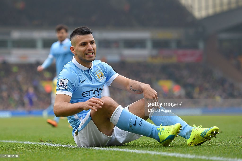 Sergio Aguero of Manchester City reacts during the Barclays Premier League match between Norwich City and Manchester City at Carrow Road on March 12...
