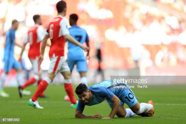 Sergio Aguero of Manchester City reacts during the Emirates FA Cup SemiFinal match between Arsenal and Manchester City at Wembley Stadium on April 23...