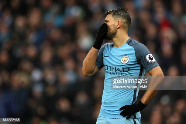 Sergio Aguero of Manchester City reacts during the Premier League match between Manchester City and Liverpool at Etihad Stadium on March 19 2017 in...